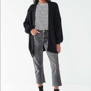 URBAN OUTFITTERS Black Oversized Ribbed Cardigan